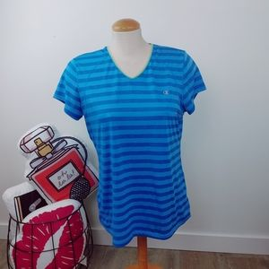 CHAMPION | Blue Shades Stripe Active Top Ladies L